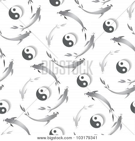 Seamless Pattern In The Japanese Style With A Fish And A Sign Of Yin-yang.