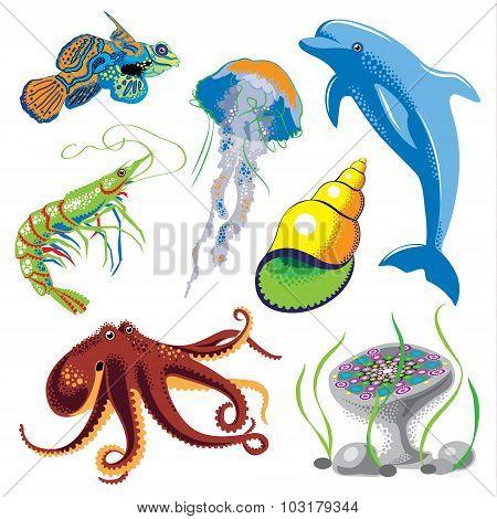 Set Of Sea Animals.