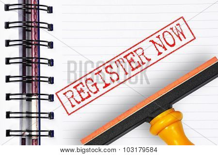 Register Now Rubber Stamp On The Note Book