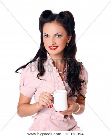 Pin-up Girl With Cap Of Coffee