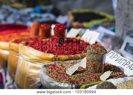 Beautiful Vivid Oriental Market With Bags Full Of Various Spices In Osh Kyrgyzstan.