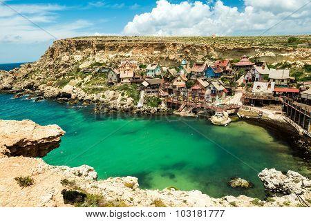 View over Popeye village, Malta