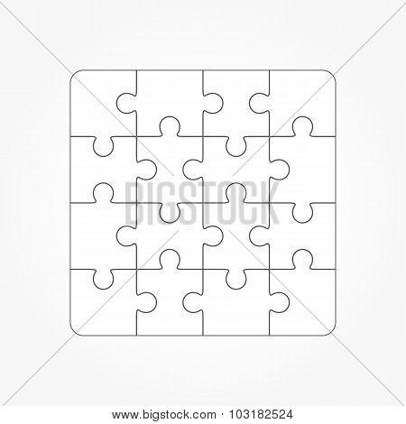 Jigsaw Puzzle Blank Template Sixteen Elements