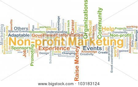 Background concept wordcloud illustration of non-profit marketing