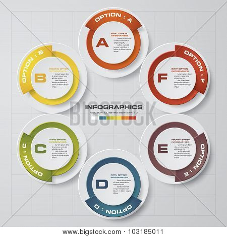 Simple&Editable 6 Steps chart diagrams template/graphic or website layout.