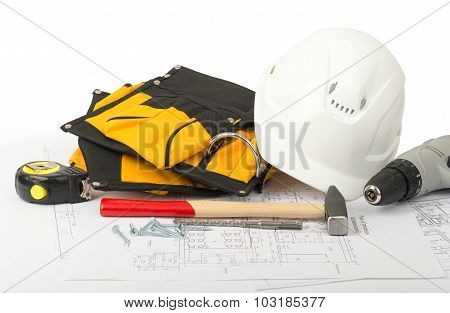 Helmet with tool belt, front view