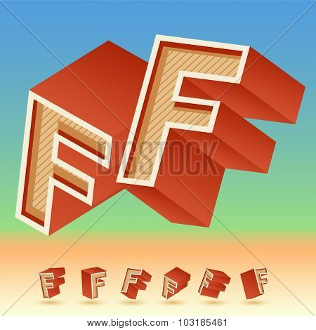 3D vector retro alphabet for summer typography design. All symbols in set have 8 random points of view. Letter F