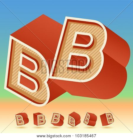 3D vector retro alphabet for summer typography design. All symbols in set have 8 random points of view. Letter B