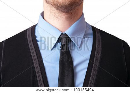 Closeup Of A Tie With Shirt And Cardigan