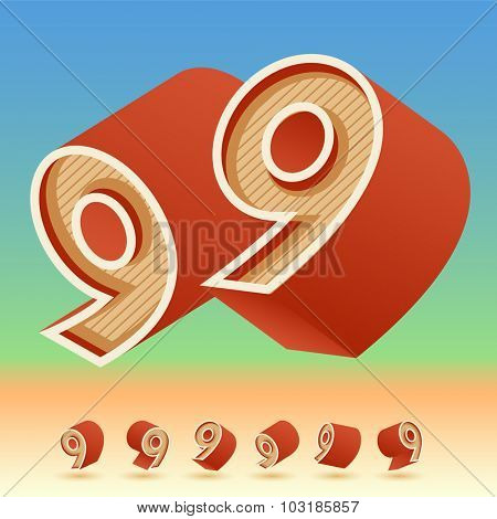 3D vector retro alphabet for summer typography design. All symbols in set have 8 random points of view. Number 9