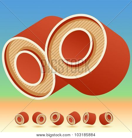 3D vector retro alphabet for summer typography design. All symbols in set have 8 random points of view. Letter O