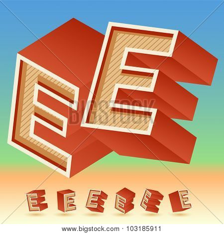 3D vector retro alphabet for summer typography design. All symbols in set have 8 random points of view. Letter E