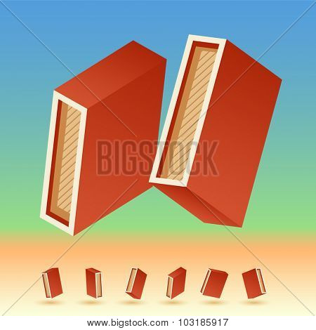 3D vector retro alphabet for summer typography design. All symbols in set have 8 random points of view. Letter I