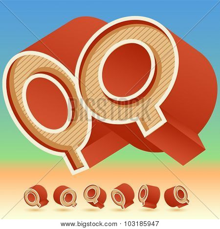3D vector retro alphabet for summer typography design. All symbols in set have 8 random points of view. Letter Q
