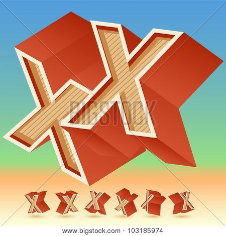 3D vector retro alphabet for summer typography design. All symbols in set have 8 random points of view. Letter X
