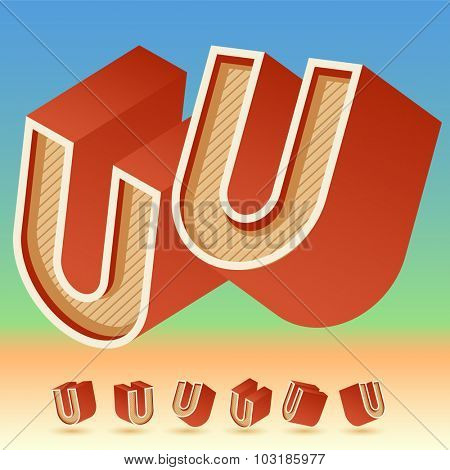 3D vector retro alphabet for summer typography design. All symbols in set have 8 random points of view. Letter U