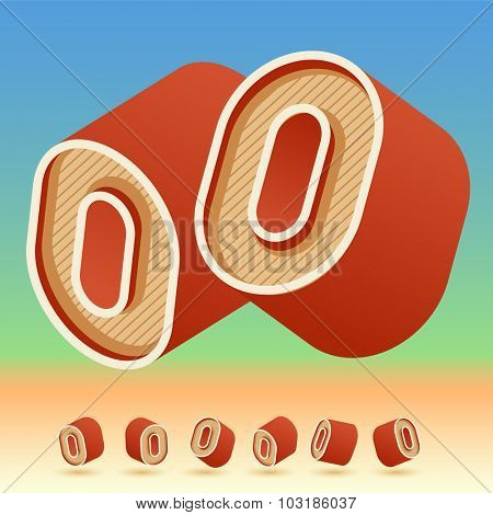 3D vector retro alphabet for summer typography design. All symbols in set have 8 random points of view. Number 0