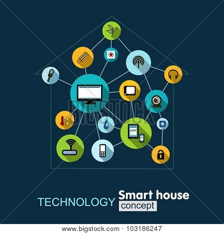 Concept technology- smart house. Growth background with lines, circles, integrate flat icons. Manage