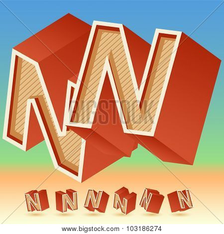 3D vector retro alphabet for summer typography design. All symbols in set have 8 random points of view. Letter N