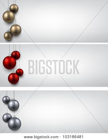 Abstract banners with color christmas balls. Vector illustration.