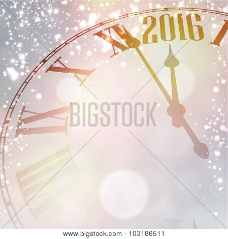 Vintage clock over snowfall christmas background. New 2016 year vector illustration.