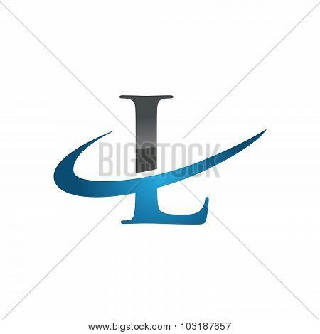 Initial letter L company swoosh logo blue