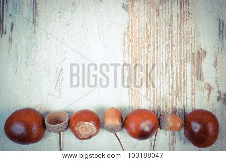 Vintage Photo, Autumn Decoration And Copy Space For Text On Wooden Background
