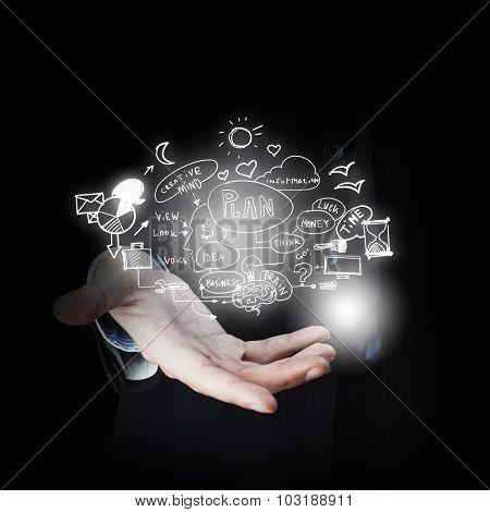 Businessman hand presenting business idea sketch on palm
