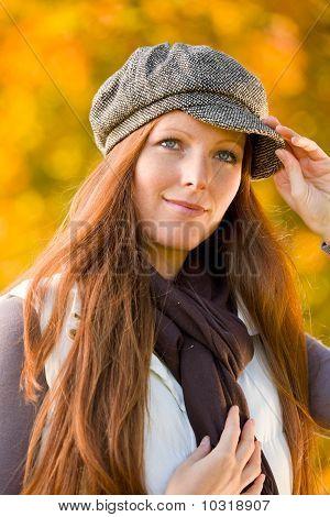 Autumn Park - Red Hair Woman Fashion