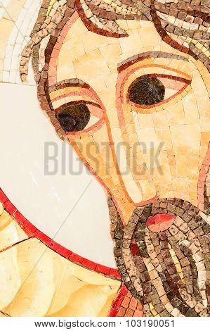 Stone Mosaic Face Of A Saint, A Detail