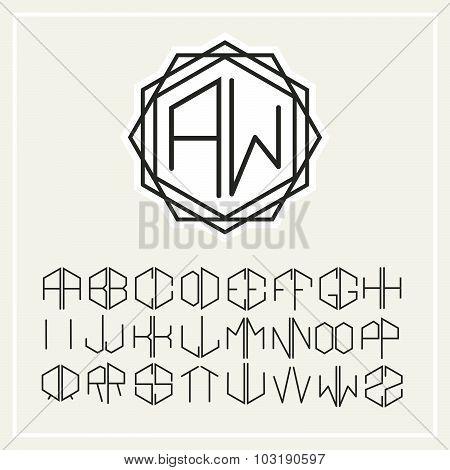 Stylish  graceful monogram , Elegant line art logo design in Art Nouveau Style and Set  template let