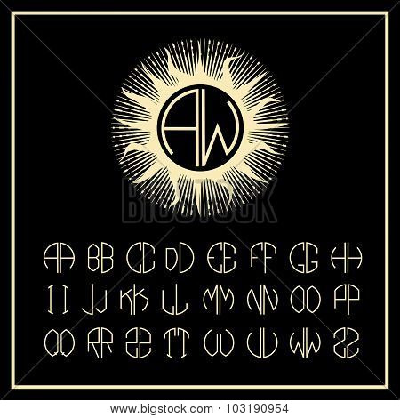 Outline sun monogram icons and logo design elements   of two letters in scribed in a circle in Art N