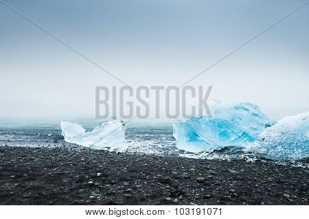 Beautiful Blue Icebergs On The Coast Of The Atlantic Ocean