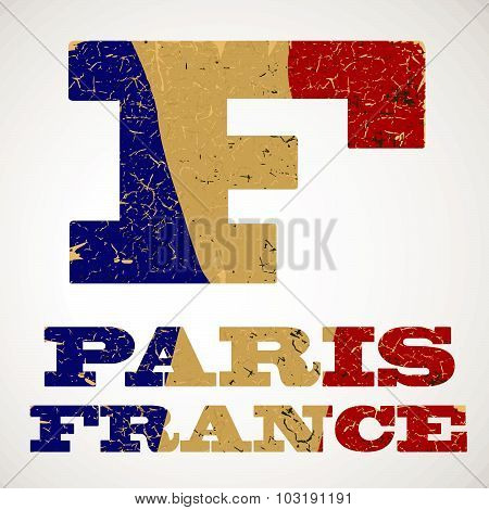 Vintage lettering F and France flag ,  typography, t-shirt graphics