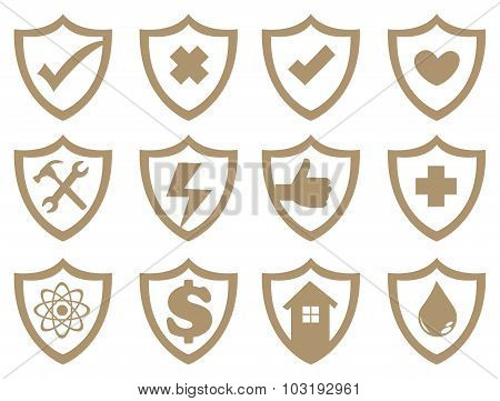 Shield Symbol Vector Icon Set