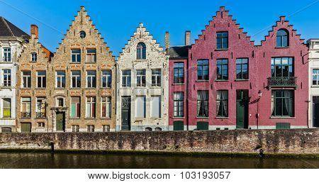 Panorama of canal and medieval houses. Bruges (Brugge), Belgium