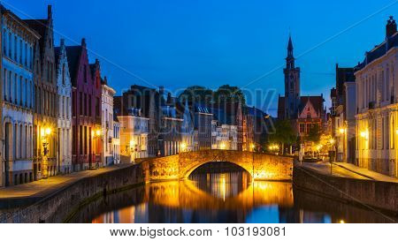 Panorama of Bruges (Brugge) canal in the evening twilight, Belgium