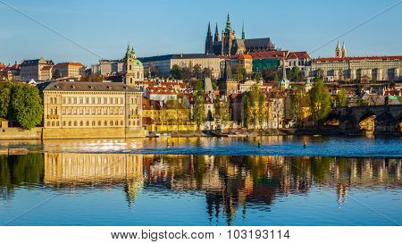 Panorama of Mala Strana and  Prague castle over Vltava river. Prague, Czech Republic