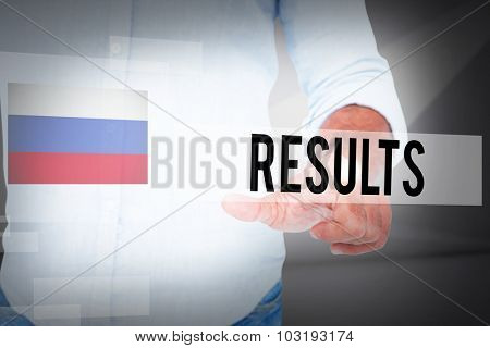 The word results and man pointing something with his finger against abstract white room