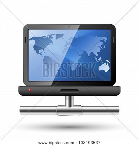 Icon Of A Laptop With A Network Connection. Vector Illustration