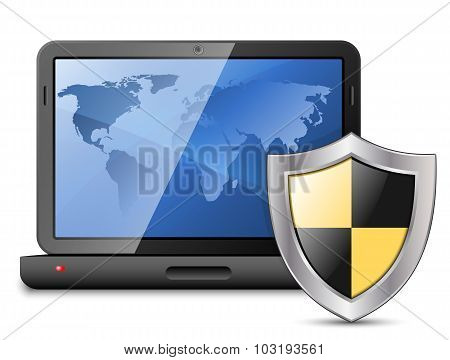 Icon Of Laptop With Protective Shield. Vector