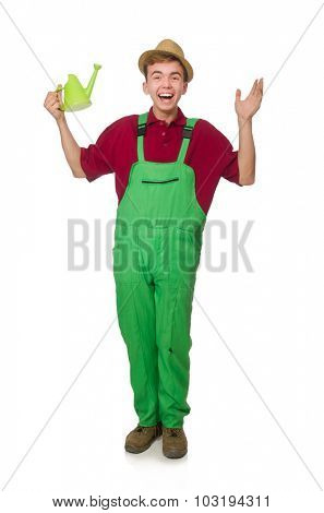 Young gardener with watering can isolated on white