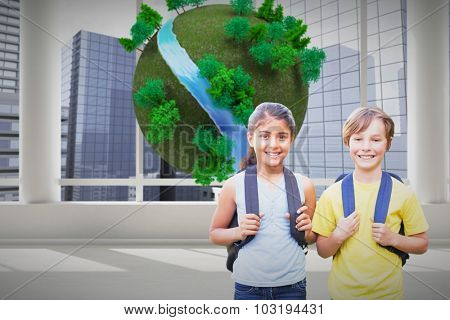 School kids against earth with trees floating in room