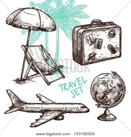 Travel Sketch Decorative Icon Set