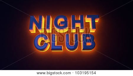 Neon sign illuminated night club. Orange light.