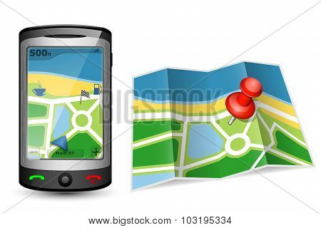 Paper Map And Gps Device. Vector Illustration