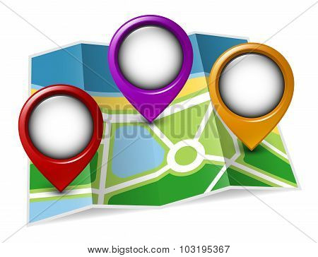 Paper Map With Colored Map Pointers. Vector Illustration
