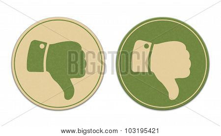 Two Paper Thumb Down Stickers Isolated On White Background