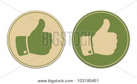 Two Paper Thumb Up Stickers Isolated On White Background
