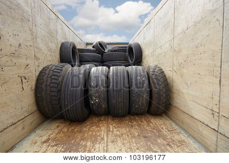 Container of old used tires
